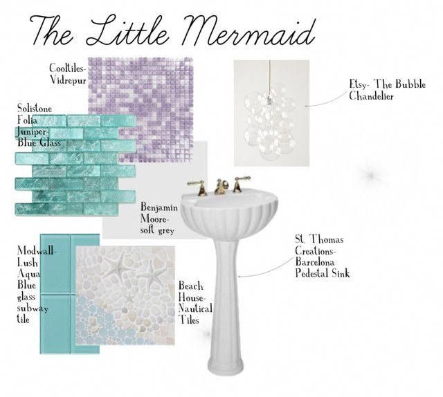 The Little Mermaid Bathroom by taylorstein on Polyvore featuring interior, interiors, interior design, home, home decor, interior decorating and bathroom #girlsbathroom #mermaidbathroomdecor