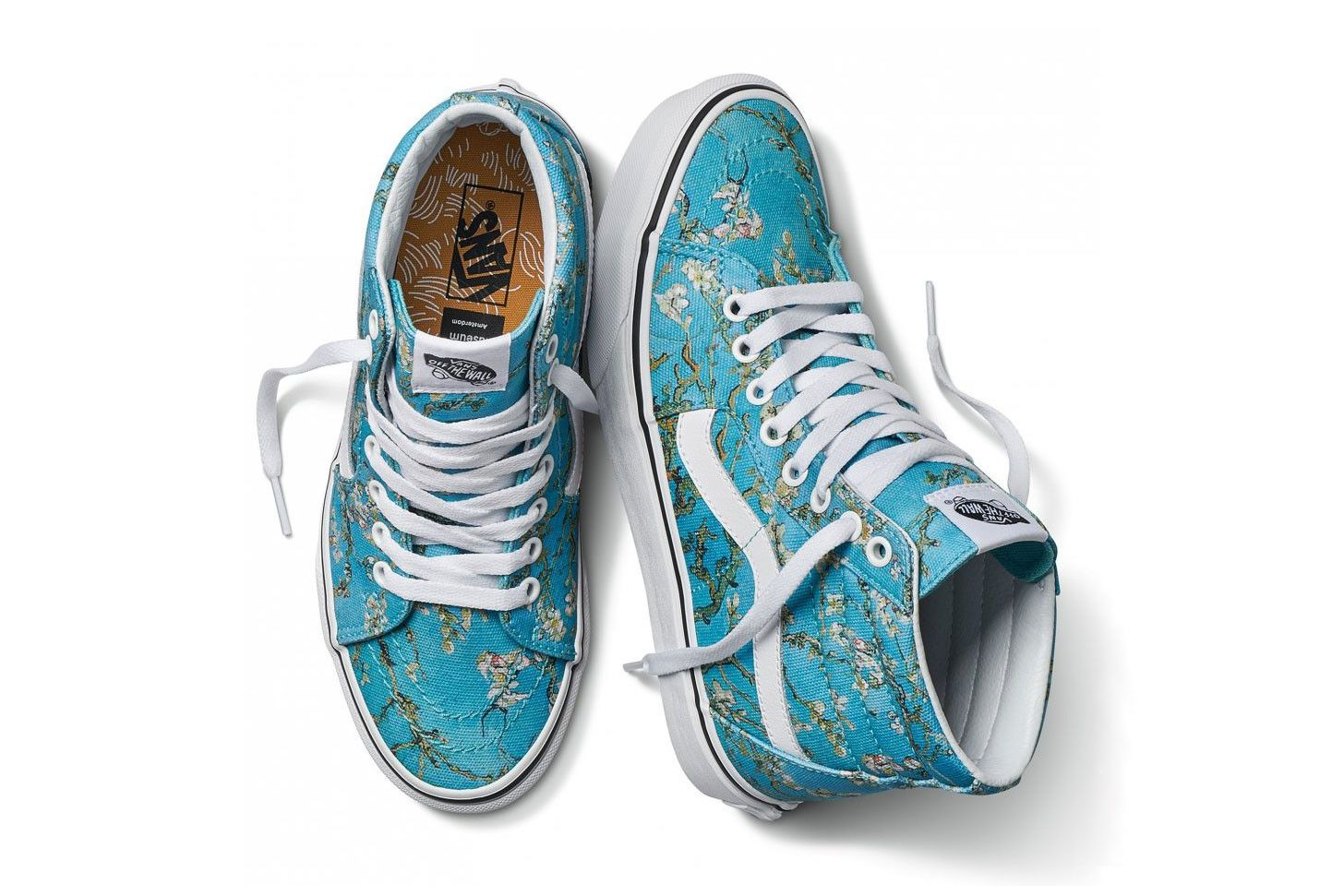 ccdfc3dacd vincent van gogh museum vans collaboration artwork sneaker shoe sk8 hi blue  white almond blossom flower