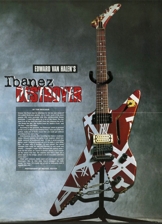 Vintage Ibanez Destroyer Guitar Poster Edward Van Halen Eddie Van Halen Van Halen Music Gift Music Room Deco Guitar Posters Van Halen Eddie Van Halen