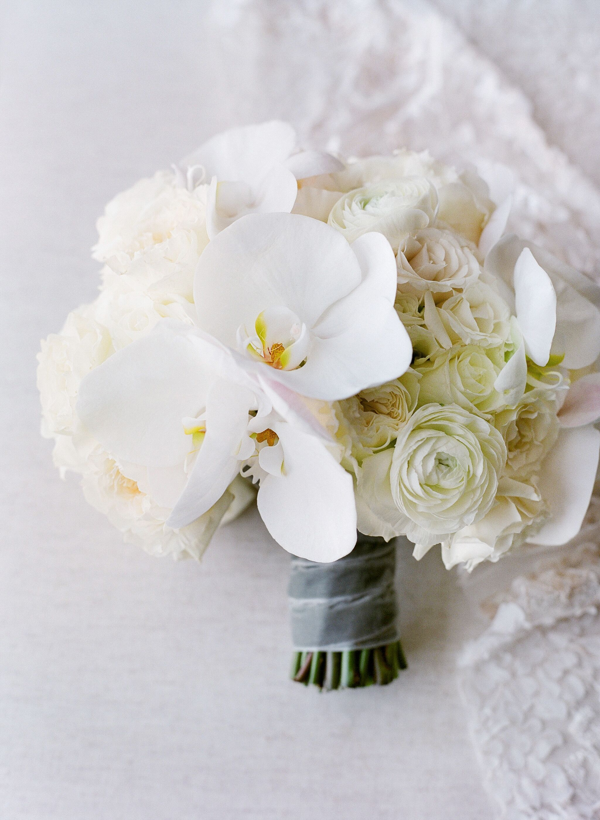 Elegant White Bouquet with Orchids and Roses in 2020