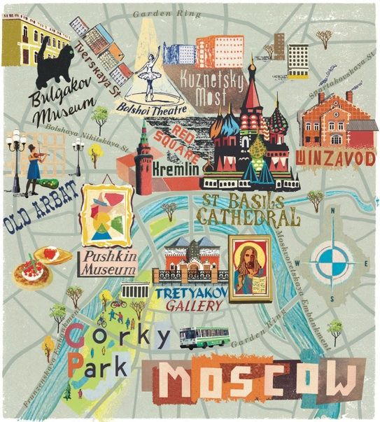 Moscow Map Cute Art Illustrated Map Travel Infographic Paris Map