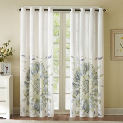 Solange 84 Inch Floral Watercolor Window Curtain Panel   BedBathandBeyond.com  (in Teal