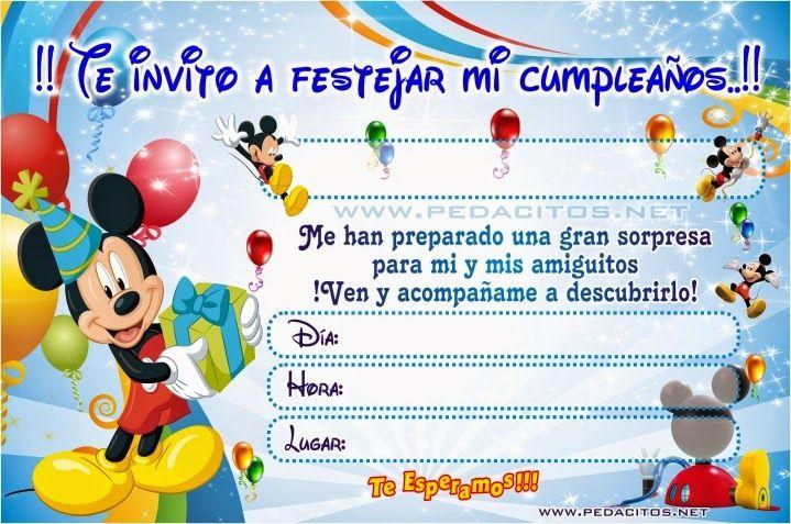 Invitaciones De Mickey Mouse Para Editar Gratis Fiesta