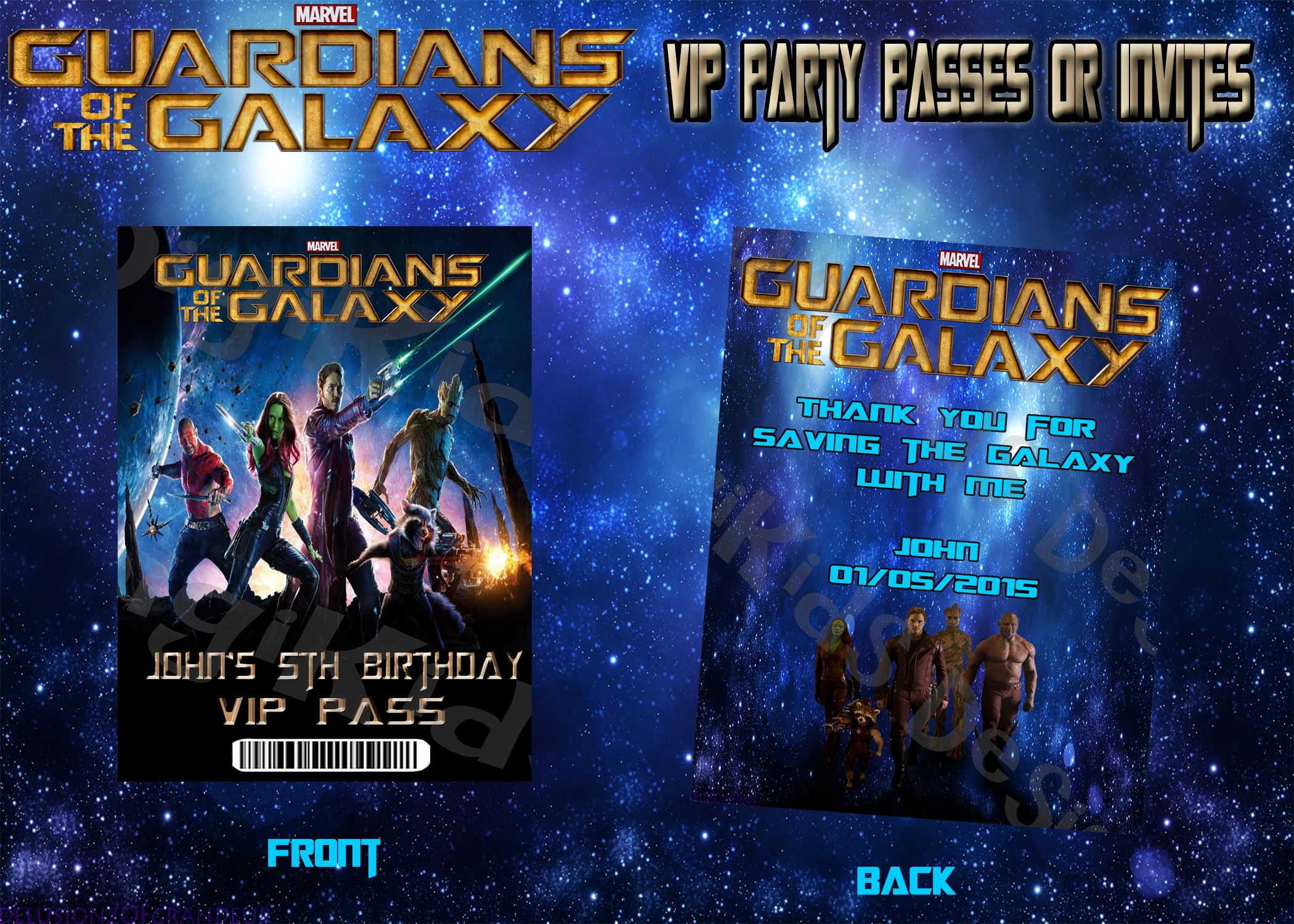 Guardians of the Galaxy Personalized Birthday Party VIP Pass and