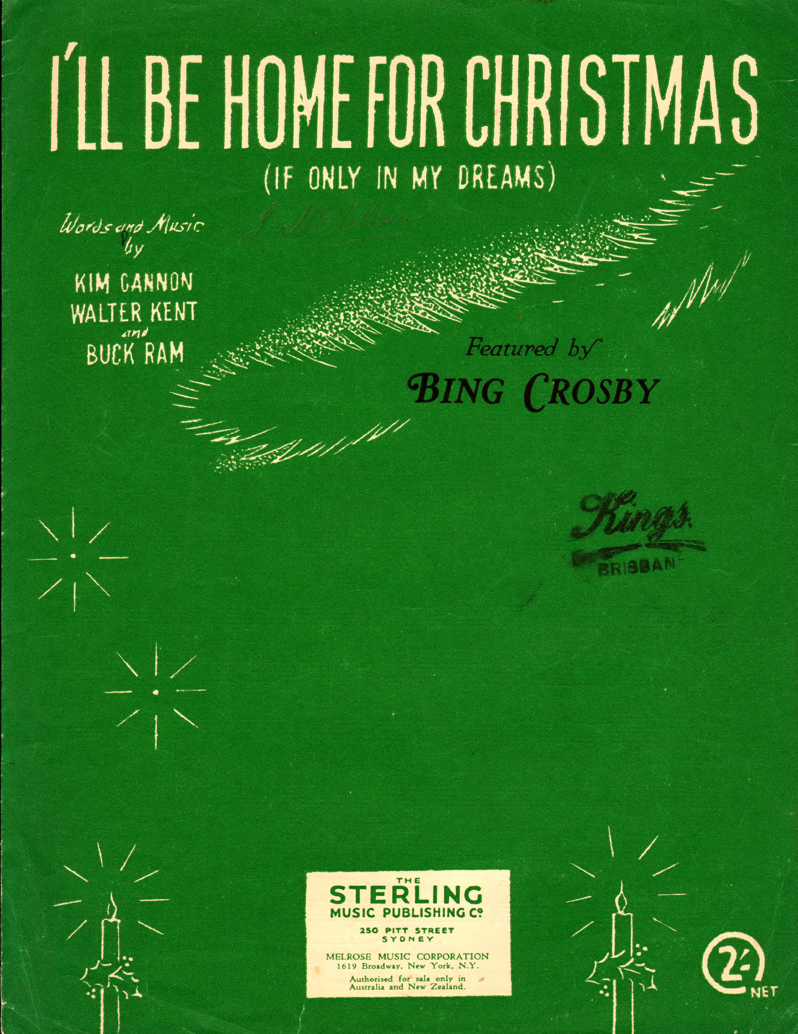 ill be home for christmas 1943 words and music by kim cannon - I Ll Be Home For Christmas Bing Crosby