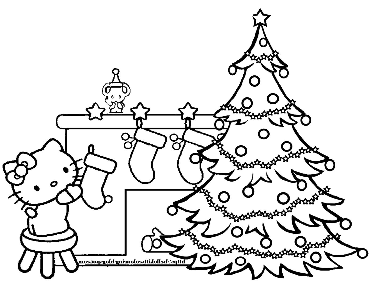 Kids coloring pages christmas trees printable - Hello Kitty And Christmas Tree Coloring Pages