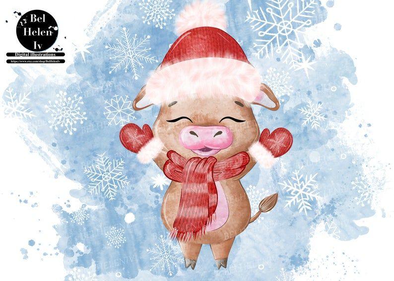 New Year's clip art bull Cute cartoon bulls set Cow Etsy