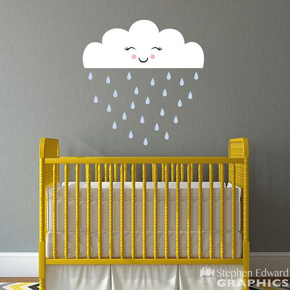 Cloud with Raindrops Decal Set - Nursery Decor - Smiling Cloud Wall ...
