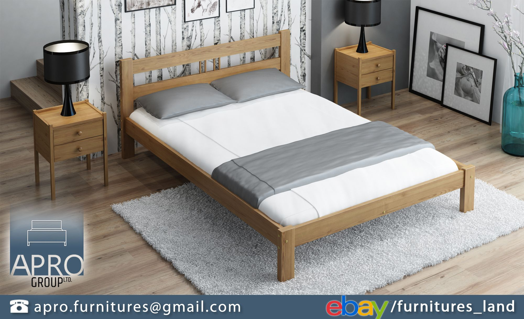 Wooden Pine Oak Wood Bed Frame With Mattress Slats Set 4ft6 Double