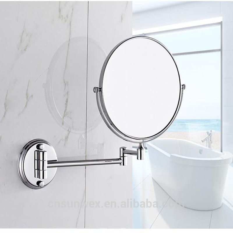 Wall Mounted Bathroom Folding Extendable Cosmetic Mirror With 3x Magnification Shaving Mirror Magnif Extendable Bathroom Mirrors Shaving Mirror Bathroom Mirror