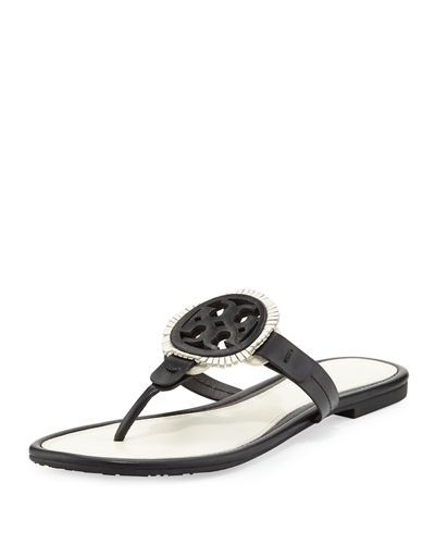 1c83620b1a58 Miller Fringe Flat Leather Logo Sandal. TORY BURCH ...