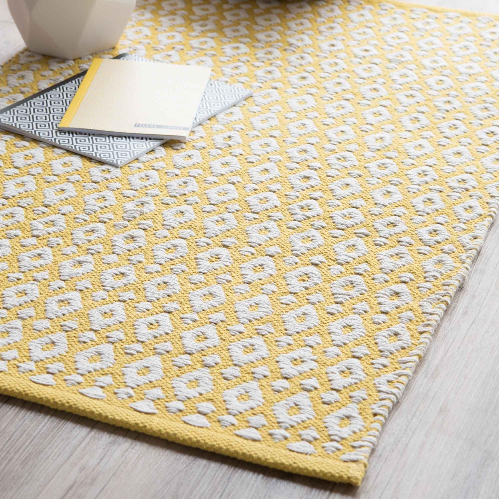 Teppich aus Baumwolle, gelb, 60 x 90 cm | Teppiche, 90er und Gelb