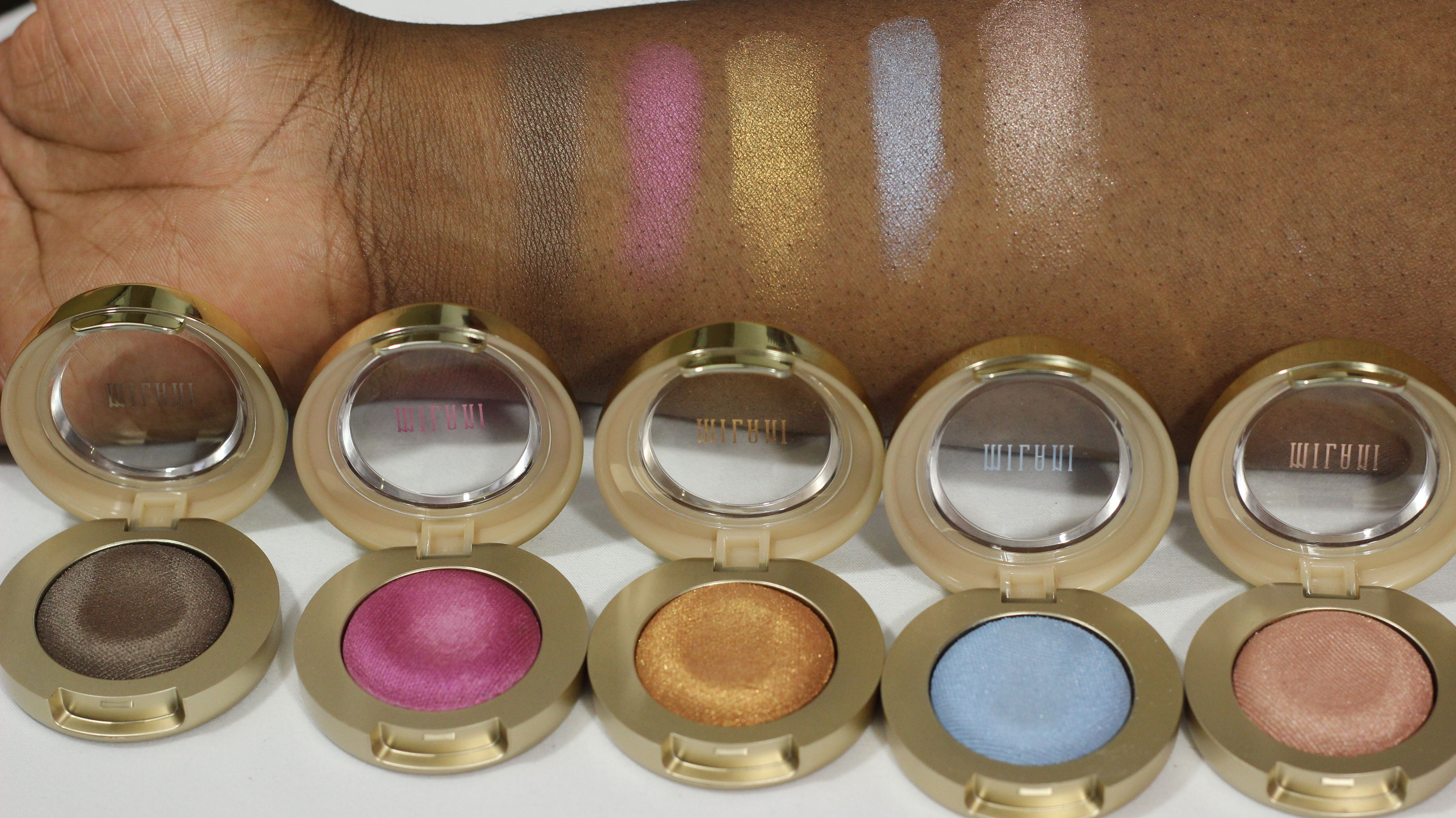 Milani Cosmetics Bella Gel powder Swatches. Checkout my complete video on my blog.
