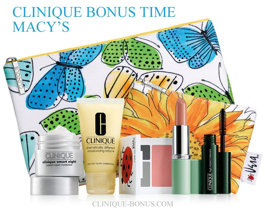 Cool colour choice of 7pc Clinique gift at Macy's. Yours