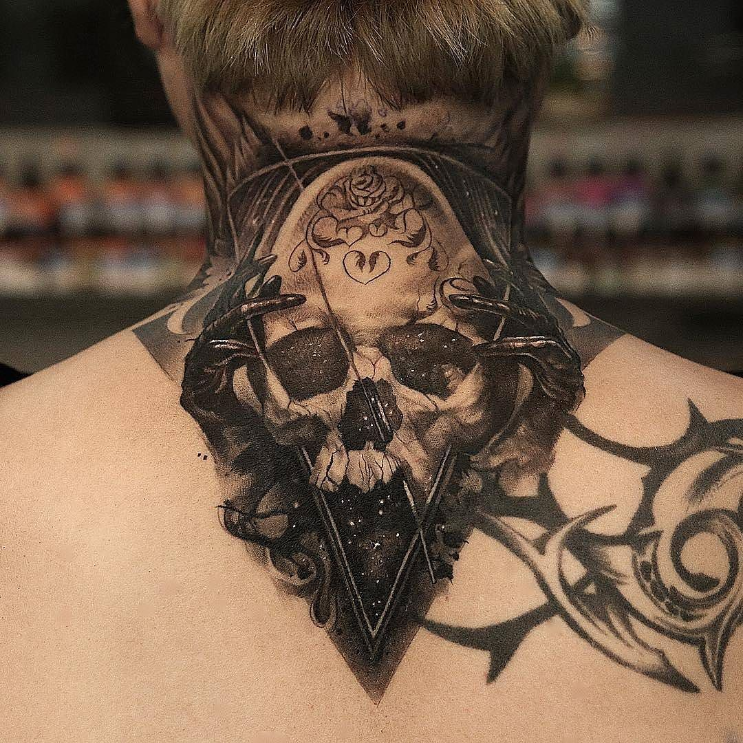 Space Skull By Q Tattoos In Seoul South Korea Space Skull Spaceskull Qtattoos Q Tattoos Tattoos For Guys Badass Best Neck Tattoos Neck Tattoo For Guys