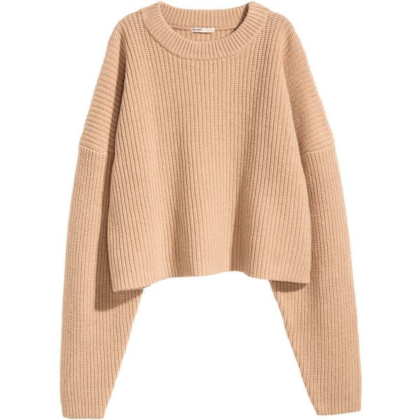 Chunky-knit Wool Sweater $59.99 ($60) ❤ liked on Polyvore featuring tops, sweaters, red top, thick knit sweater, red sweater, short tops and wool sweaters