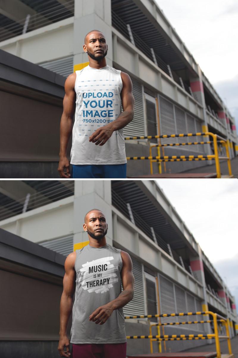 Download Placeit Sleeveless Shirt Mockup Of A Man In An Industrial Area Custom Sportswear Sportswear How To Wear