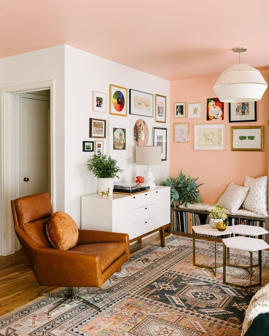 West Elm Furniture Decor On Instagram Think Pink We Re In Love With This Peachy Ceiling Wraparound Galler Apartment Decor Interior Cheap Home Decor #peach #living #room #decor