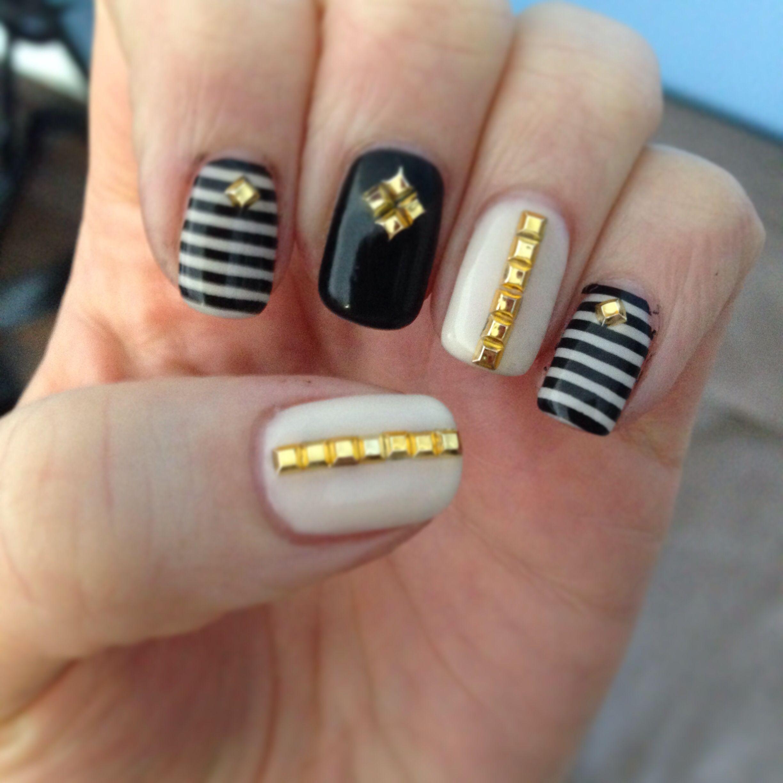 Feelin studly! Nail art shellac gel polish studs black & nude nail ...