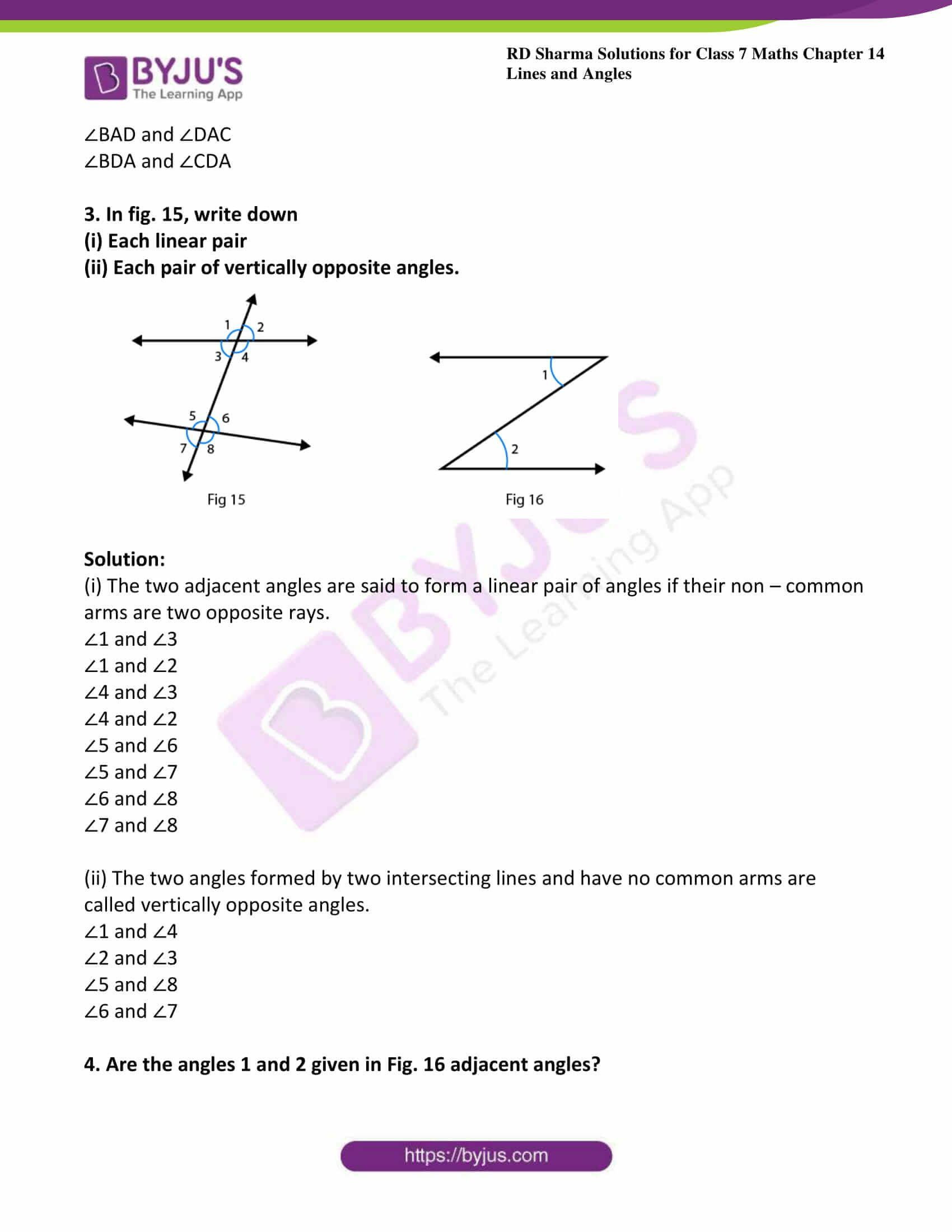 Lines And Angles Worksheet Rd Sharma Solutions For Class 7