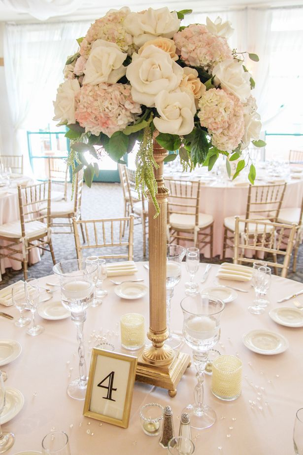 Romantic blush peach wedding tall centerpieces