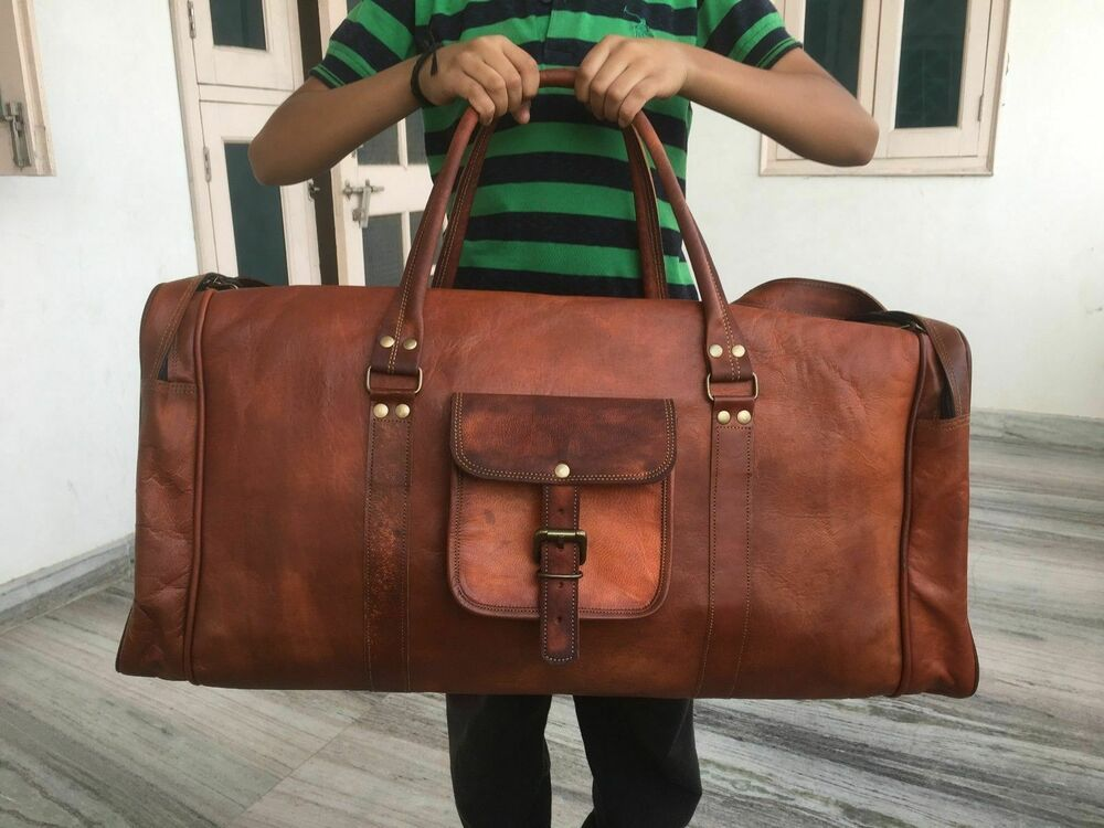 Bag Leather Travel Men Duffle Gym Luggage S Overnight