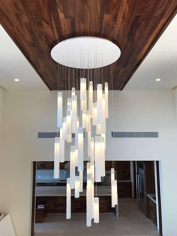White Candles X Long Contemporary Modern Extra Long Pendant Lighting Chandelier Hand Craft High Ceiling Lighting Staircase Chandelier Modern Foyer