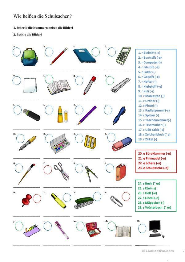 Wie heißen die Schulsachen? | Meine Schulsachen, in der Schultasche ...