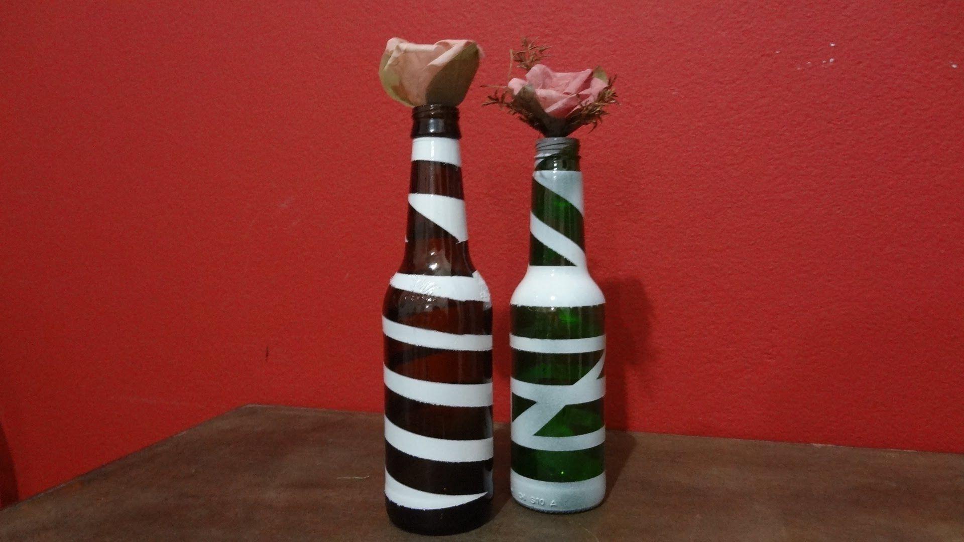 Pintura em garrafa de cerveja - reaproveitamento