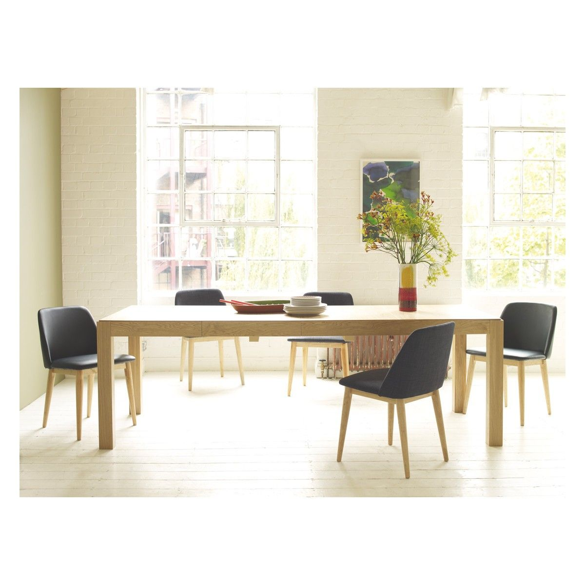 drio seat oak extending dining table with bjursta table extensible. Black Bedroom Furniture Sets. Home Design Ideas