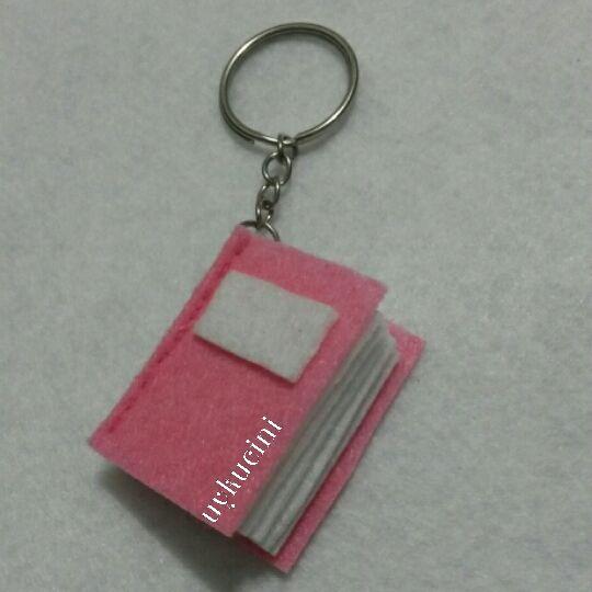 uykucini - felt notebook keychain, pink notebook keçe kitap anahtarlık...