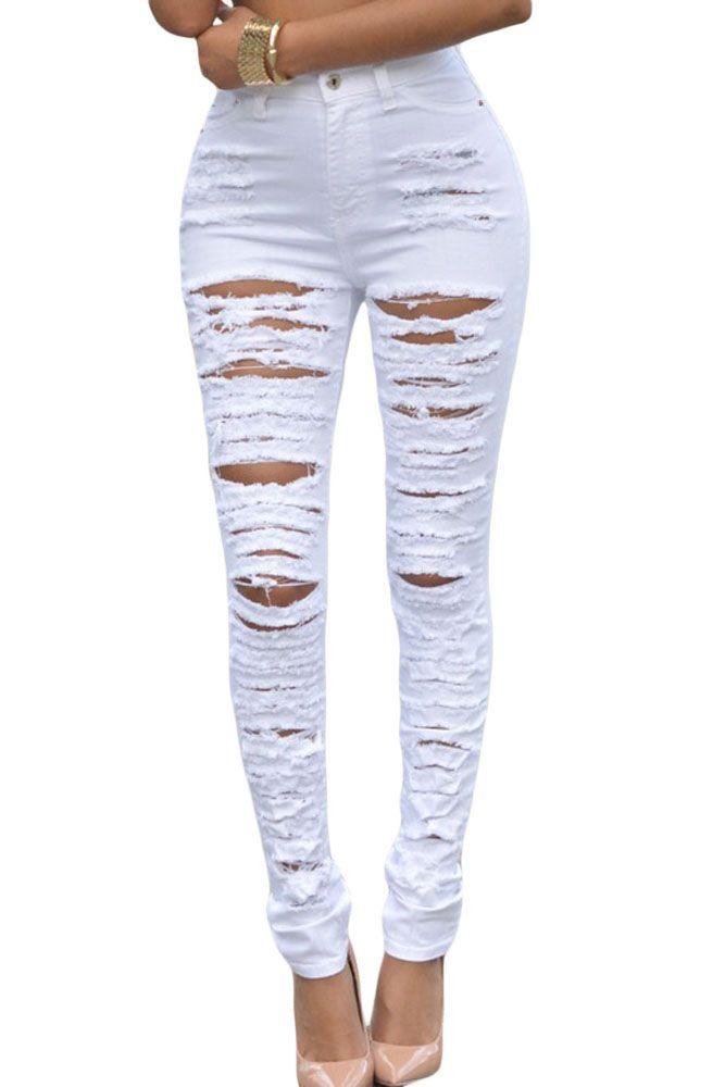 Encontrar Más Pantalones vaqueros Información acerca de Mujeres Negro  Skinny Jeans Ripped Skinny Jeans Baratos brasileños 4d3a030a6993