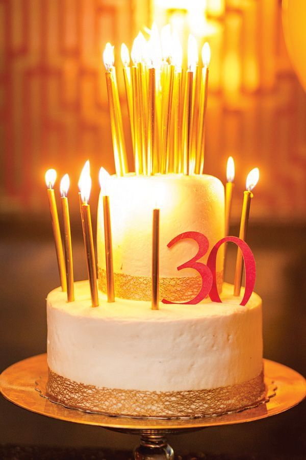30 Birthday Cake 30th Parties Gold Candles Happy
