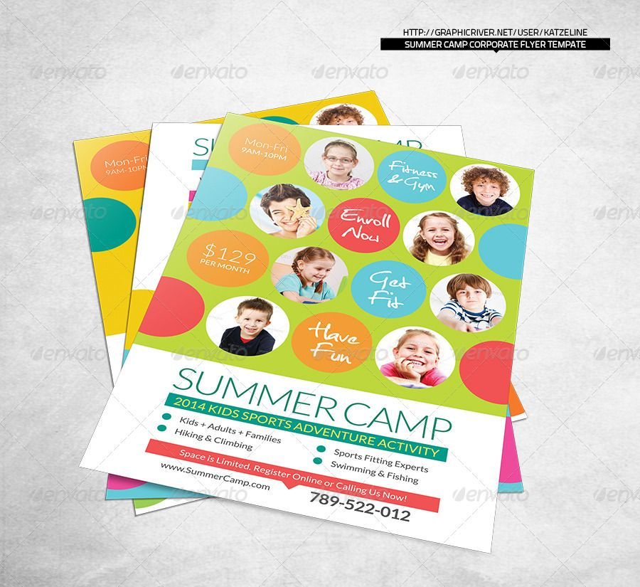 Fresh Summer Camp Fitness Club Flyer Template  Club Flyers Flyer