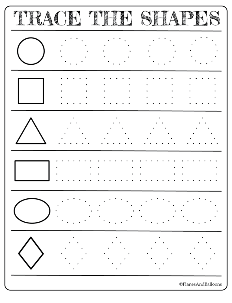 Free printable shapes worksheets - coloring pages and tracing shapes ...