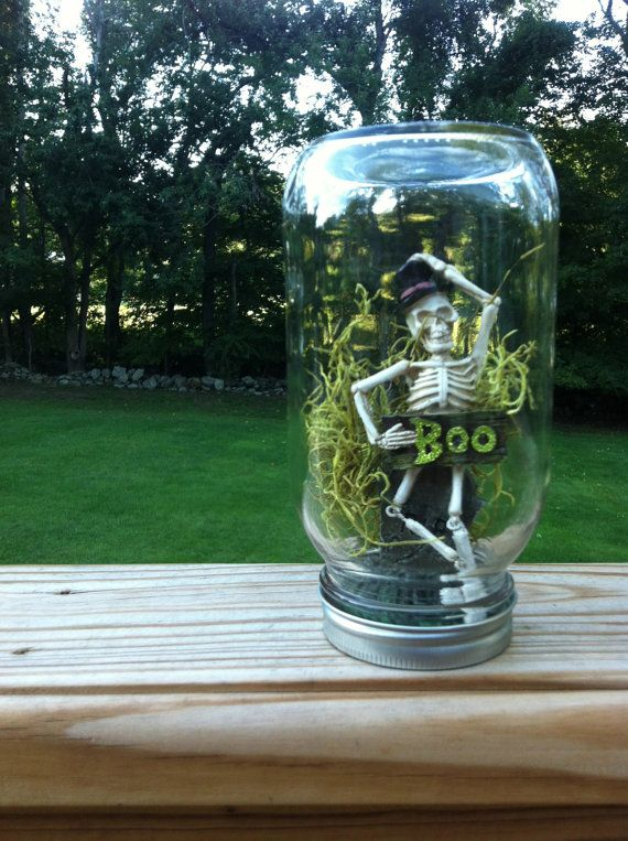 BOO Skeleton Mason Jar Halloween Decoration by RocksAndRoots, $1450