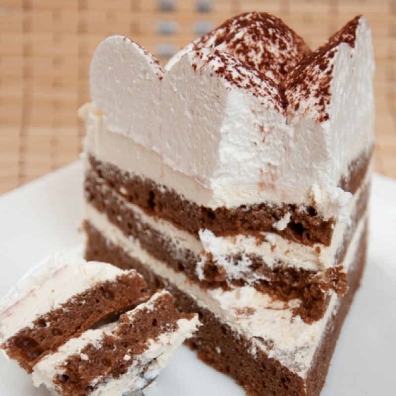A delicious recipe for whipped Cream frosted layered mocha cake served topped with a cocoa dusting.. Whipped Cream and Cocoa Layered Mocha Cake Recipe from Grandmothers Kitchen.