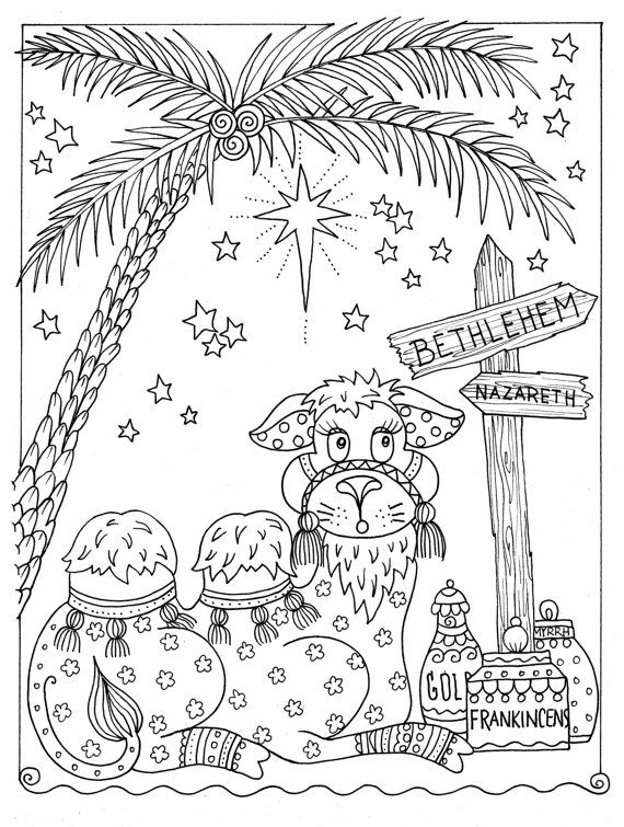Instant Coloring Page Christmas Fun Camel Christian Art To Color