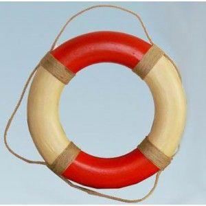 Antique Red and White Life Preserver Ring 20