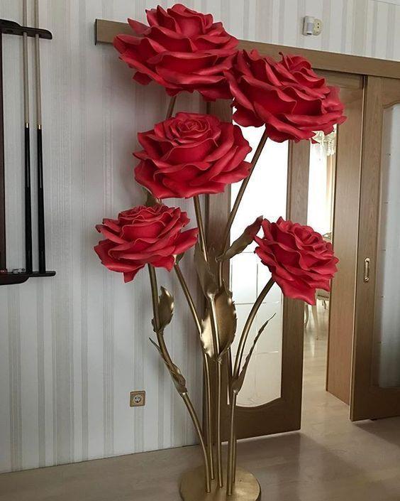 Rosas Grandiosas En Goma Eva Flores De Papel Grande Flores De