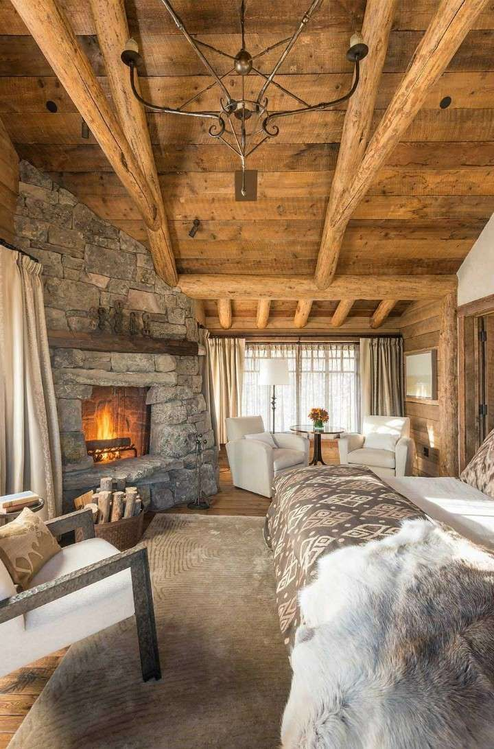 Pin di Emma Santarcangelo su fireplaces | Camera da letto rustica ...