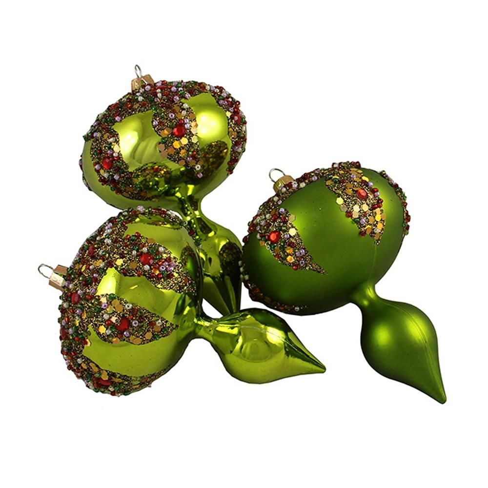 Barcana 5 In Lime Green Glitter Sequin Beaded Shatterproof Christmas Finial Ornaments 3 Count 30889585 The Home Depot Christmas Ornament Sets Christmas Decorations Ornaments Ornament Set