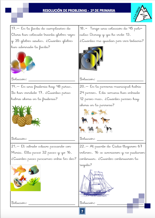 Cuaderno de problemas para Primero de Primaria   Actividades ...