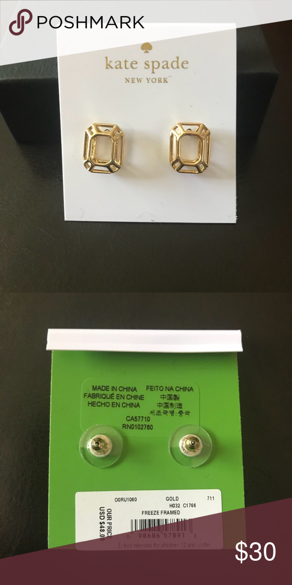 3ba86515f Kate Spade Gold Freeze Framed earrings in gold These earrings are lovely  are work great at