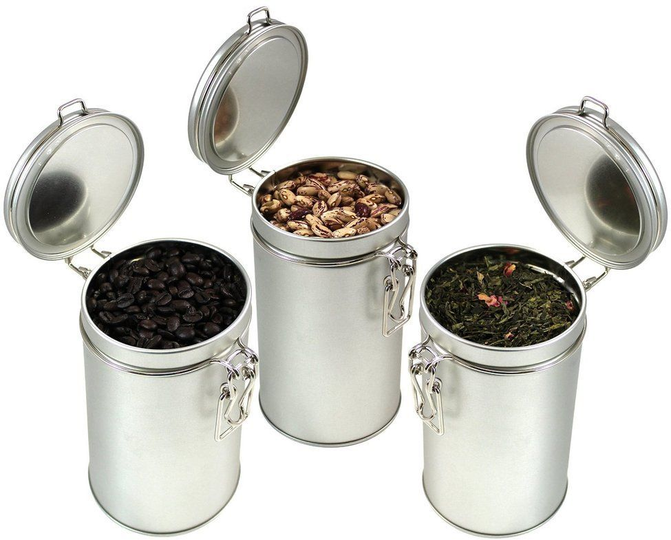 PureTea Latching Tea Tin Coffee Canister Loose Leaf U0026 Spice Storage  Stainless Steel Kitchen Container Airtight Latch Lid Seal. Www.PureTea.com  Each Tea Tin ...