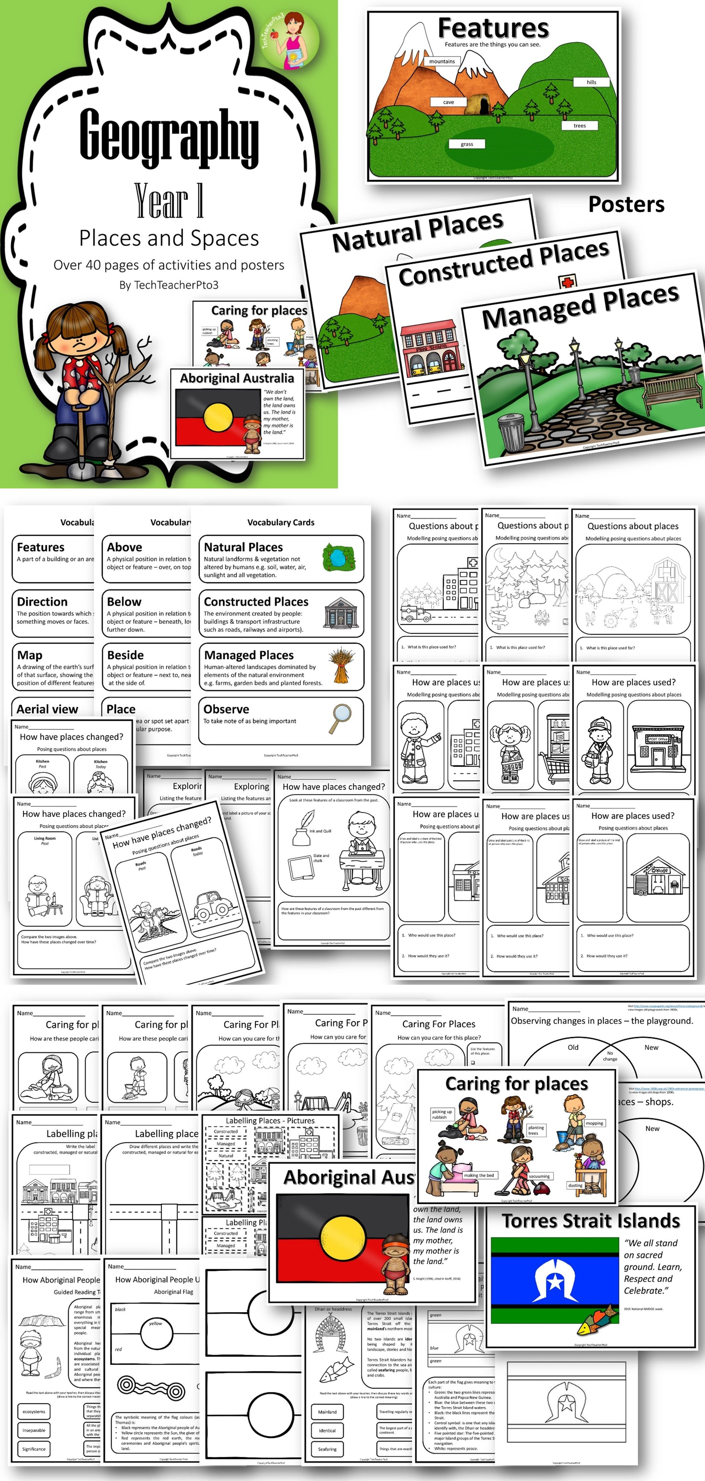 worksheet Geographical Features Worksheet geography unit year 1 places and spaces caring for natural managed