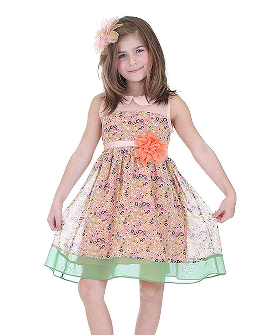 Look at this Dolce Liya Peach & Green Floral Rosette A-Line Dress - Toddler & Girls on #zulily today!