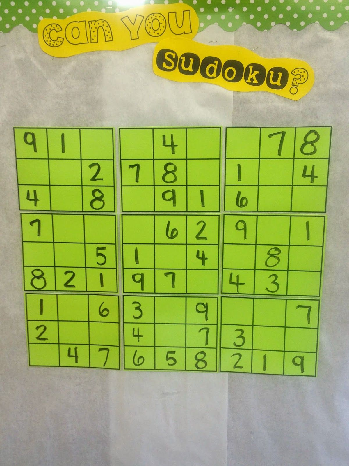 Sudoku In The Classroom