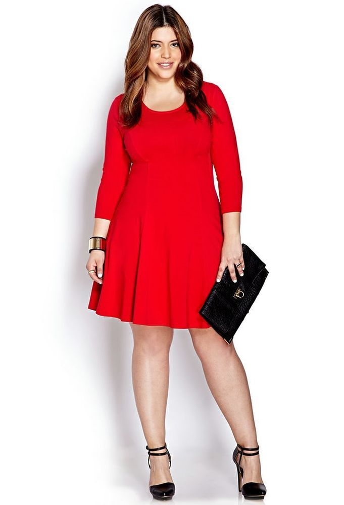 NEW Forever 21 PLUS SIZE No Fuss Skater Dress IN RED Size 1X ...