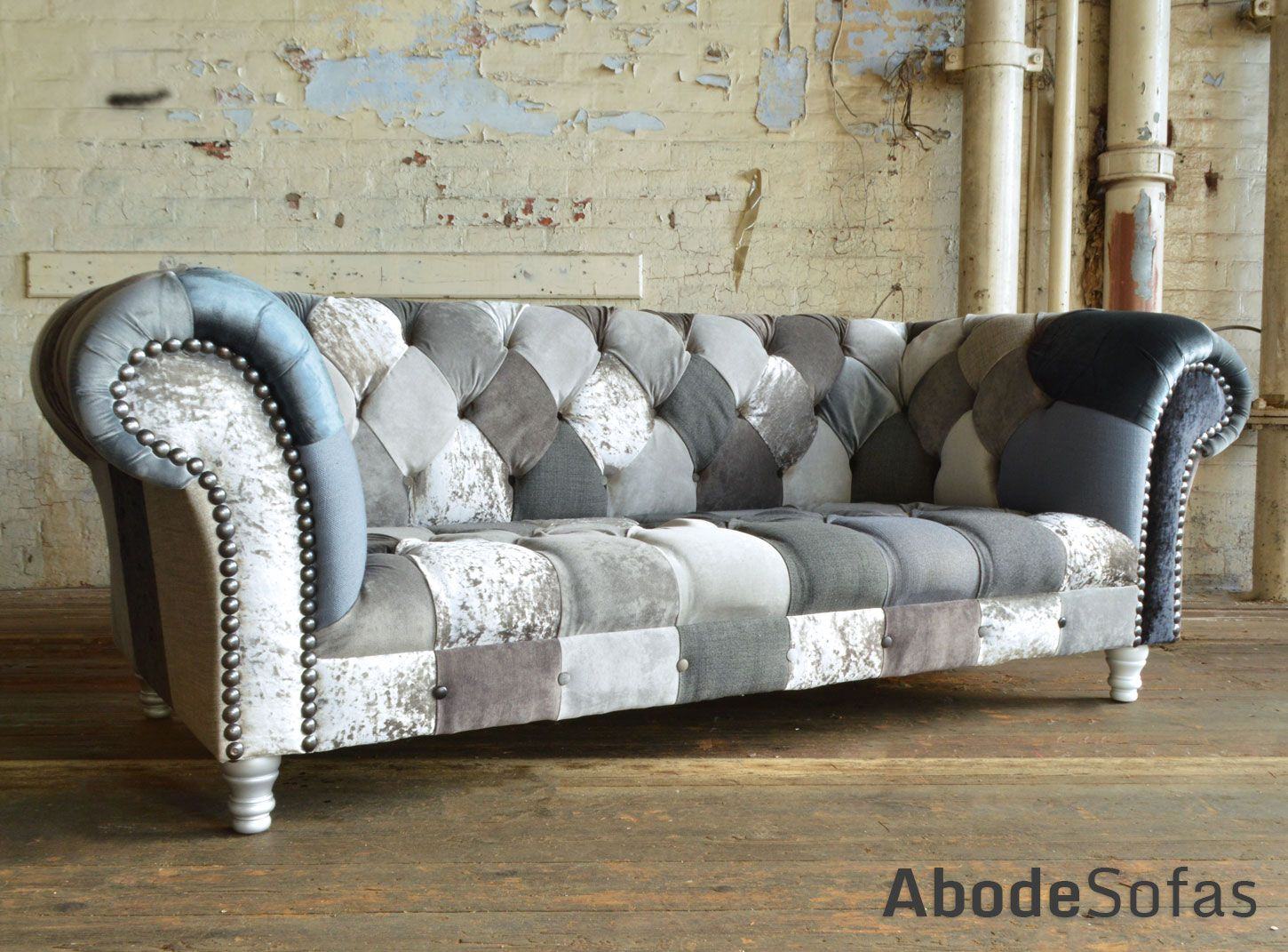 Modern British And Handmade Grey Mix Patchwork Chesterfield Sofa Totally Unique Fabric 3 Seater